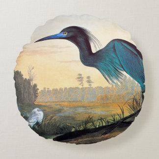 Audubon: Little Blue Heron Round Cushion