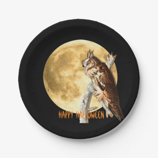 Audubon Long-eared Owl Halloween Plates 7 Inch Paper Plate