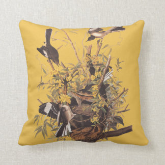 Audubon Mockingbird Family Square Throw Pillow