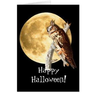 Audubon Owl & Moon Halloween Card