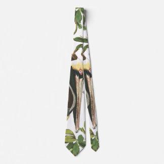 Audubon Pelican Bird Wildlife Animal Leaves Tie