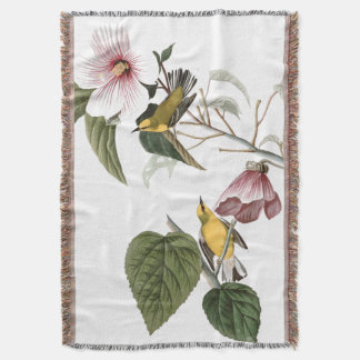 Audubon Warbler Bird Hibiscus Flower Throw Blanket