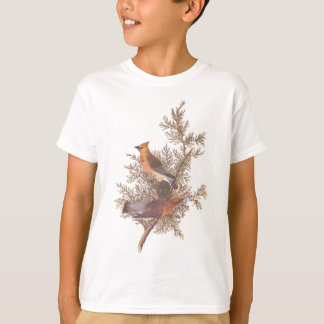 Audubon's Cedar Waxwing Bird Pair on Juniper Tree T-Shirt