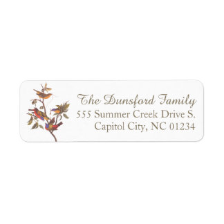 Audubon's Painted Bunting Family of Five Birds Return Address Label