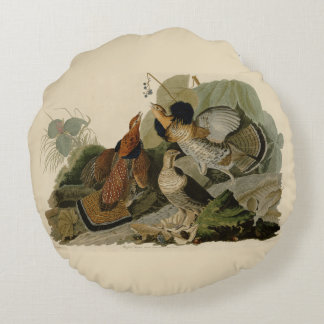 Audubon's Painting of a trio of Ruffed Grouse Round Cushion