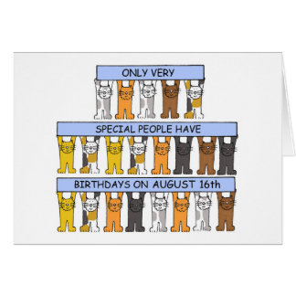 August 16th Birthday Cats Card