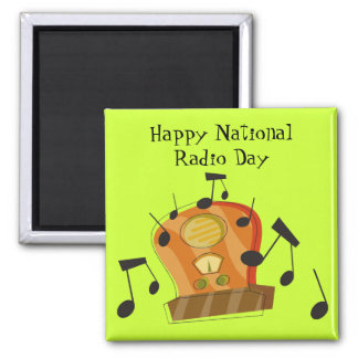 August 20th, National Radio Day Square Magnet