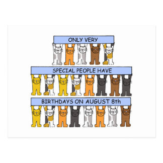 August 8th Birthday Cats Postcard