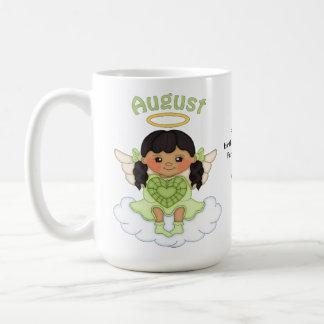 August Birthstone Angel Black Coffee Mug