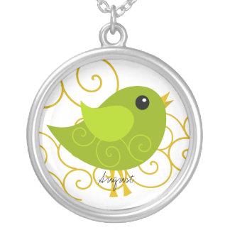 August Birthstone Bird Silver Plated Necklace
