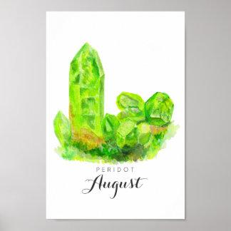 August Birthstone - Peridot Watercolor | Poster
