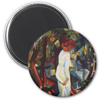 August Macke - A Couple In The Forest 6 Cm Round Magnet