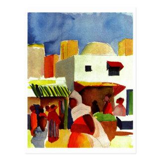 August_Macke - Algier Market 1914 Canvas Postcards
