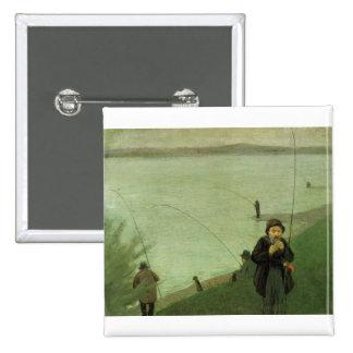 August_Macke - Angler on Rhein - 1907 Fisher River 15 Cm Square Badge