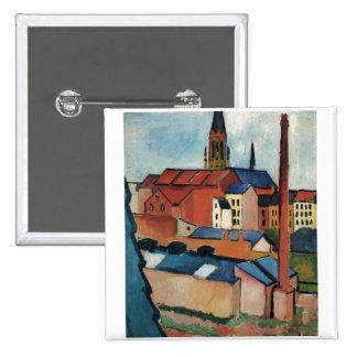 August Macke - Bonn Houses and Chimney 1911 Oil 15 Cm Square Badge