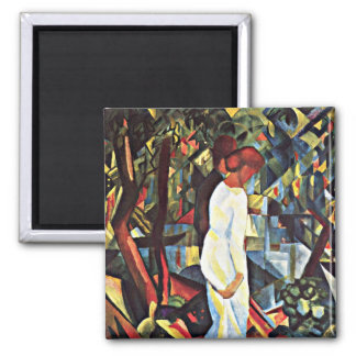 August Macke: Couple in the Woods, 1912 artwork Square Magnet