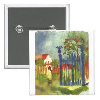 August Macke - Garden Gate 1914 Gartentor 15 Cm Square Badge