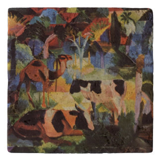 August Macke Landscape with Cows and Camel Trivet