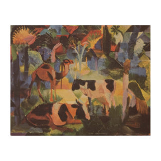 August Macke Landscape with Cows and Camel Wood Wall Decor