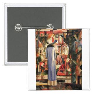 August Macke - Large Bright Shop Window 1912 Oil 15 Cm Square Badge