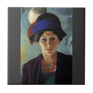 August Macke - Portrait of the wife of the artist Tiles
