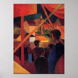 August Macke - Seiltänzer 1914 Oil Canvas Circus Poster