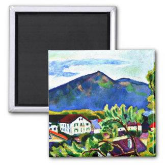 August Macke - Spring Landscape in Tegernsee Square Magnet