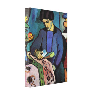 August Macke - Wife of the artist Gallery Wrap Canvas
