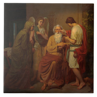 August Malmstrom - Tobias healing his blind father Tile