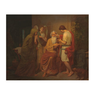 August Malmstrom - Tobias healing his blind father Wood Print
