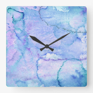 'August' Purple and Blue Watercolor Square Wall Clock