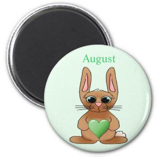 August Rabbit Birthstone Peridot 6 Cm Round Magnet