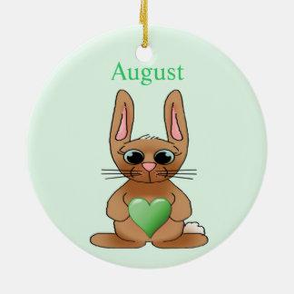August Rabbit Birthstone Peridot Ornaments