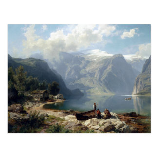 August Wilhelm Leu Sunny Day at a Norwegian Fjord Postcard