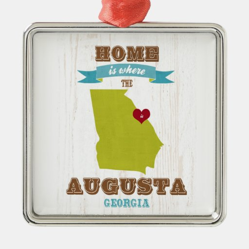 Augusta, Georgia Map – Home Is Where The Heart Is Christmas Tree Ornaments