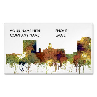 Augusta Georgia Skyline. SG-Safari Buff Magnetic Business Card
