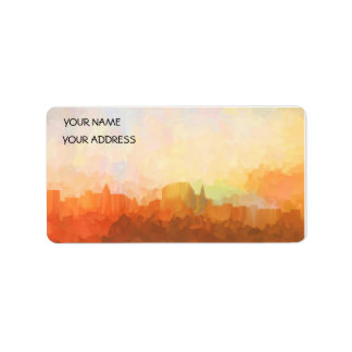 Augusta Maine Skyline IN CLOUDS Address Label
