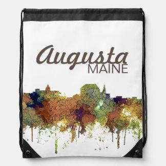 Augusta Maine Skyline SG-Safari Buff Drawstring Bag
