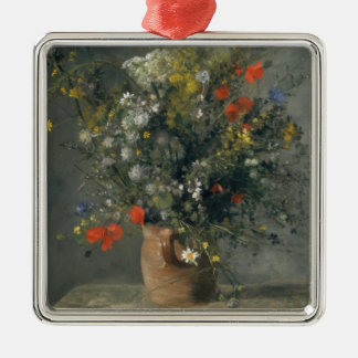 Auguste Renoir - Flowers in a Vase Silver-Colored Square Decoration