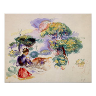 Auguste Renoir Landscape with a Girl Poster