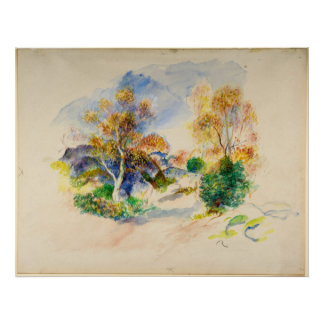 Auguste Renoir Landscape with a Path between Trees Poster