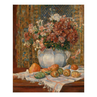 Auguste Renoir Still Life Flowers Prickly Pears Poster