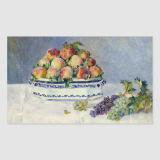 Auguste Renoir -Still Life with Peaches and Grapes Rectangular Sticker