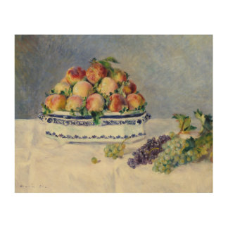 Auguste Renoir -Still Life with Peaches and Grapes Wood Wall Art