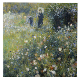 Auguste Renoir - Woman with a Parasol in a Garden Large Square Tile