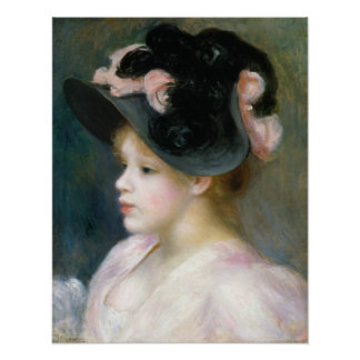 Auguste Renoir Young Girl in a Pink-and-Black Hat Poster