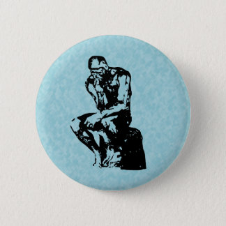 Auguste Rodin Thinker Light Cyan Button