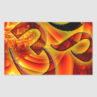 Aum om on Fractal red and yellow Rectangular Sticker