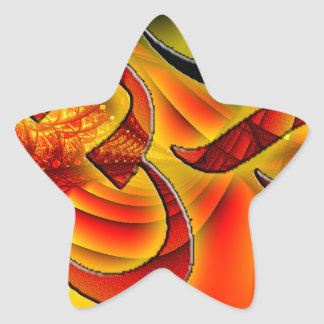 Aum om on Fractal red and yellow Star Sticker