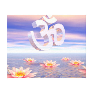 Aum - om upon waterlilies - 3D render Canvas Print